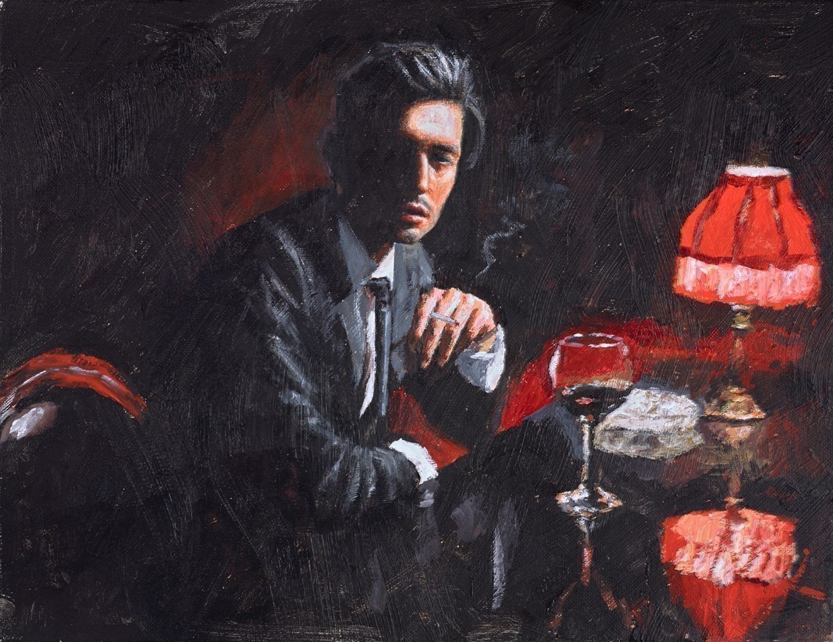 Study for The Italian (Cigarette) by Fabian Perez -  sized 18x14 inches. Available from Whitewall Galleries